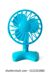 A small electric light blue fan with batteries, with a propeller and a protective grille, made of plastic. Isolated on white background