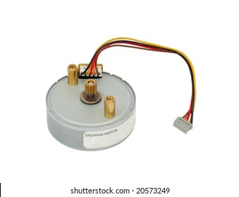 Small electric stepping motor with a cable. Close-Up. Isolated on a white background with clipping path for designers.