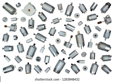 Small electrical dc motors, isolated on white background