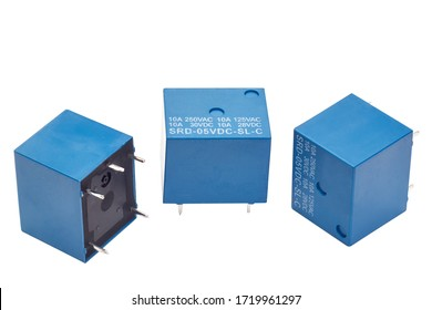 small electromagnetic relays isolated on a white background
