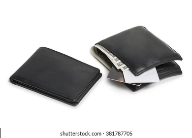Small empty and a big full wallet with dollar notes and debit cards isolated on white background