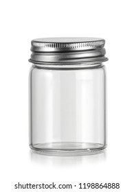 Small empty jar with metal cap
