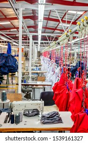 Small entrepreneur in Africa, Botswana, industrial textile factory manufacturing safety gear