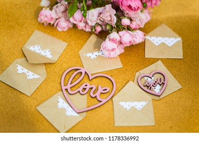 small envelopes with heart and flowers, love letters