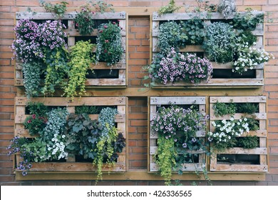 "A small example of ""vertical green wall"", with planting crates mounted on a wall. Photo taken in Gothenburg city (Sweden)"