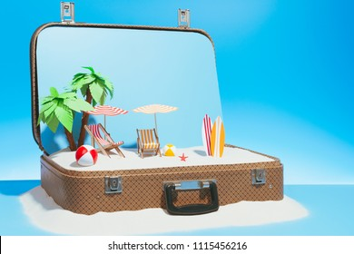 Small fake beach with chaise-longue surfboard and palms in baggage on blue background