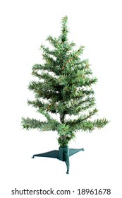 small fake green christmas tree waiting to be decorated on a white background