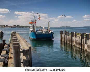 Small ferry to Hjarnoe landing, Jutland Denmark