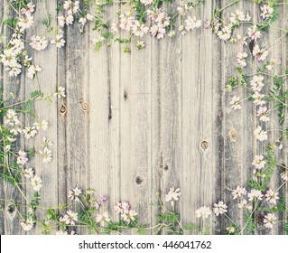 Small field flowers on vintage weathered wooden background. Retro styled floral background.