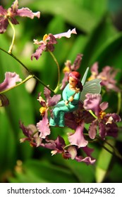 Small figure of toy fairy on the branch of oncidum orchid.
