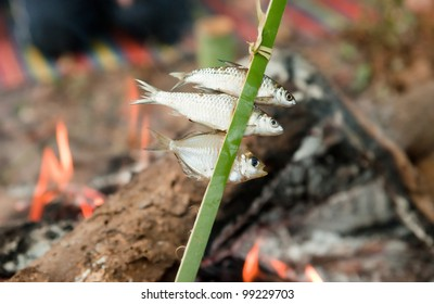 small fish cooking over fire