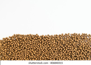 Small Fish feed on white background