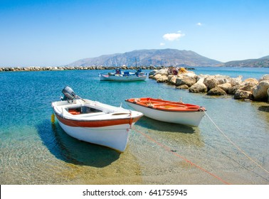 small fisher boats at the harbour of Skyros island ,Greece