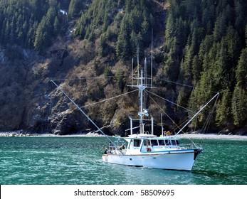 Small fishing boat in Alaska in a fjord
