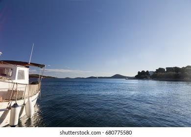 Small fishing boat in the harbor in Croatia