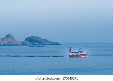 Small fishing boat. Lofoten islands, Norway.