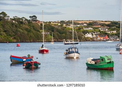 Small  fishing boats docked in Kinsale harbor, County Cork, Ireland