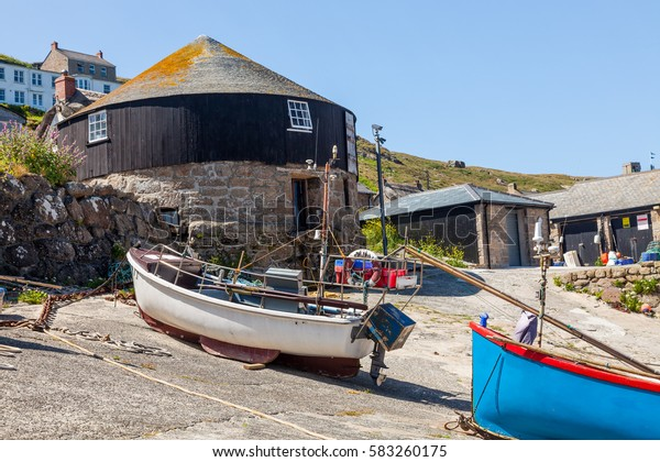 Small fishing boats in the harbour at Sennen Cove Cornwall England UK Europe