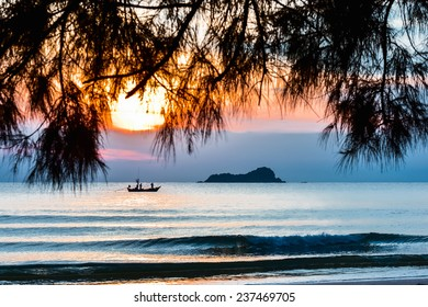small fishing boats in the sea at Hua Hin Thailand in the morning