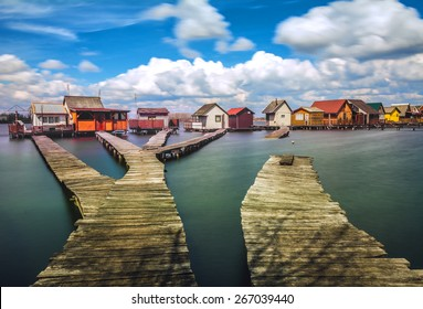 Small fishing cottages on Bokod lake in Hungary