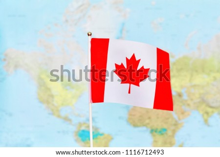 Small Map Of Canada.Small Flag Canada Waving Wind Against Stock Photo Edit Now