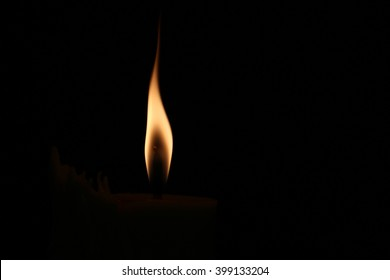 A small flame on a dark black background.