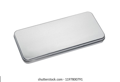 small and flat aluminium box isolated on white background
