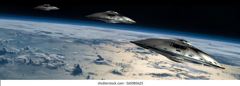 A small fleet of flying saucers take position in orbit over Earth.  Elements of this image furnished by NASA.