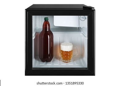 small fridge bar, inside the bottle and glass full of beer with foam, the concept of summer and cooling, frontal arrangement