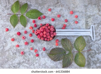 small fruit raspberries in the metallic spoon and green leaf