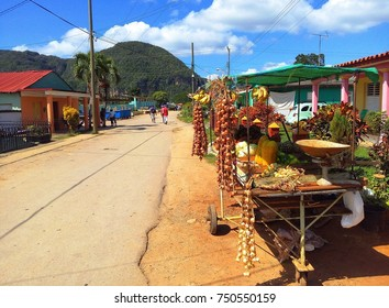 Small fruit and vegetable market on street in Vinales, colonial town and rural area famous for tobacco fields, plantations and beautiful nature in Pinar del Rio, Cuba
