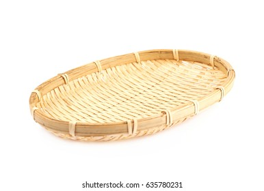 Small fruit wicker basket isolated over the white background