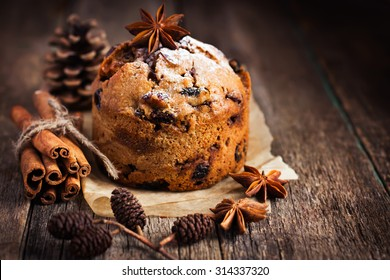 small  fruitcake for Christmas dinner,  selective focus, toned