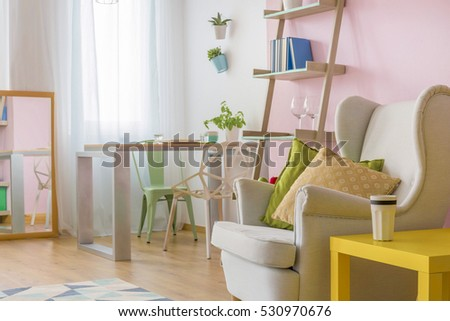 Small Functional Living Room Pastel Decor Stock Photo Edit Now