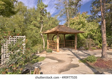 Small gazebo in a Japanese garden in Gresham Oregon.