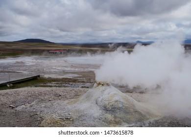 Small geothermal geyser at Hveravellir Nature Reserve in Iceland