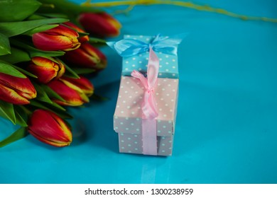 small gift in blue and pink wrapping, newborn, birthday