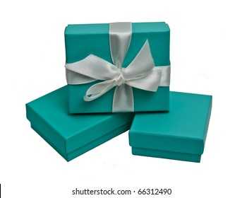 Small gift boxes on white background