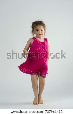 fef1c95c6 Small Girl Dancing Happily Studio Against Stock Photo (Edit Now ...