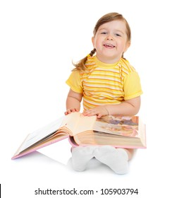 Small girl with family album isolated