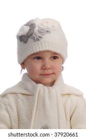 small girl on white