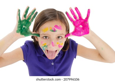 small girl with painted hand on white background. cute girl playing and fooling around