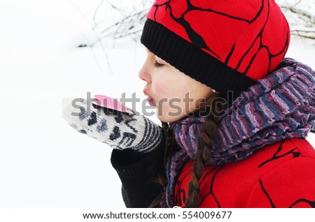 8b9acf13aef Small Girl Paper Heart Hand Winter Stock Photo (Edit Now) 554009677 ...