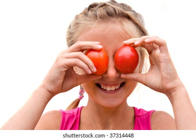small girl and tomato