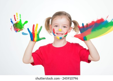 small girl whit colored hand painting on glass