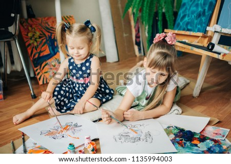 Small Girls Playing With Color Paints In Art Studio Finger Paint Early Development