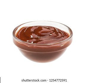 Small glass  bowl of bbq sauce  isolated on white background. Barbecue sauce