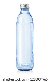 Small glass water bottle isolated on white with clipping path