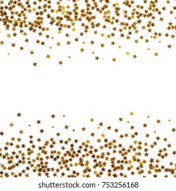 Small golden asterisks beautifully lined, on white background
