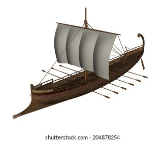 Small greek sailing craft isolated in white background